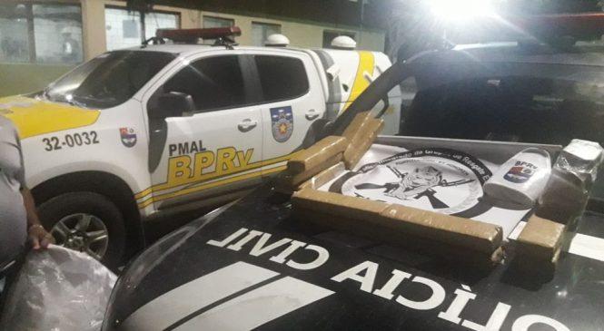 Polícia prende suspeito com 15 kg de maconha em carro na AL-101 Sul