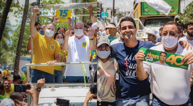 No último domingo de campanha, Gaspar e JHC pedem votos na orla de Maceió