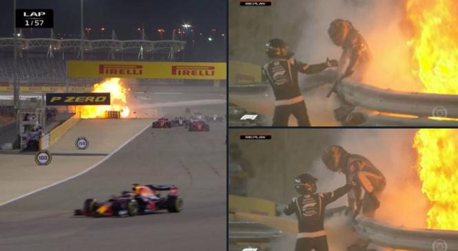F1: GP do Bahrein tem largada com acidente assustador e piloto dentro do carro em chamas