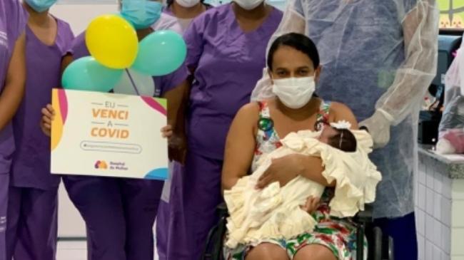 Bebê de um mês de vida se recupera da Covid-19 no Hospital da Mulher