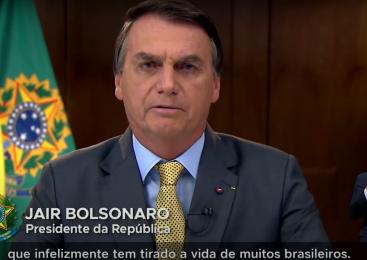 Em pronunciamento ao som de panelaços, Bolsonaro vende país de fantasia