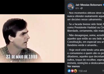 Bolsonaro grita comunismo e posta trecho de vídeo em que defende guerra civil com 30 mil mortos