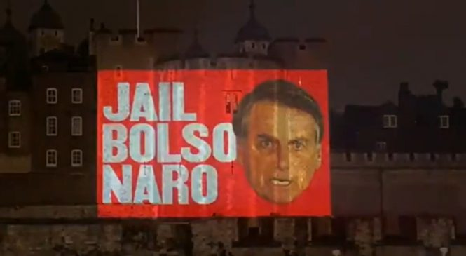Vídeo exibido sábado na torre de Londres pede a prisão de Bolsonaro após 500 mil mortos