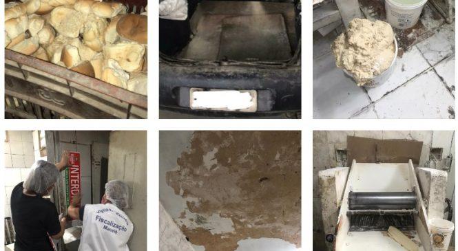 Vigilância interdita padaria e apreende mais 1.360kg de alimentos impróprios para consumo em Maceió